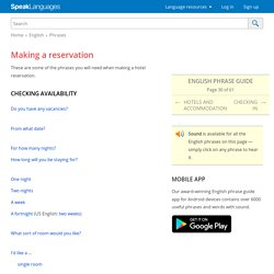 English phrases for making a hotel reservation