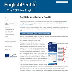 English Profile - English Vocabulary Profile