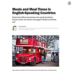 Meals and Meal Times in English-Speaking Countries