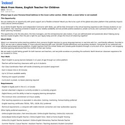 Work From Home, English Teacher for Children - Remote - Indeed.com