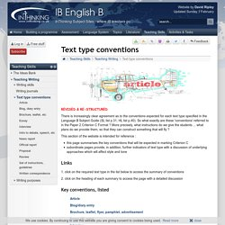 IB English B: Text type conventions