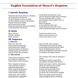 Latin To English Translation of Mozart's Requiem