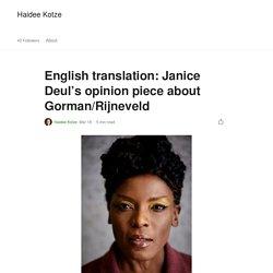 English translation: Janice Deul's opinion piece about Gorman/Rijneveld