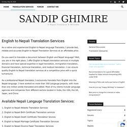 English to Nepali Translation Services - Sandip Ghimire