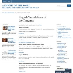 English Translations of the Targums « A Knight of The Word