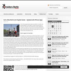 Call a Bike Berlin (An English Guide - Updated with iPhone App)