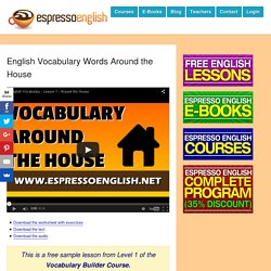 English Vocabulary Words Around the House
