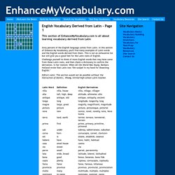 English Vocabulary Derived from Latin - Page 1
