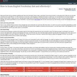 How to learn English Vocabulary fast and effectively?
