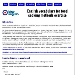 English vocabulary for food cooking methods exercise