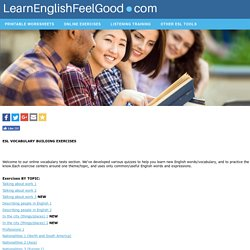 English Vocabulary Exercises By Topic - ESL Vocabulary Tests | Learn English vocabulary