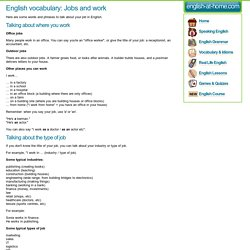 English vocabulary: Jobs and work