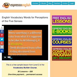 English Vocabulary Words for Perceptions of the Five Senses