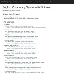 English Vocabulary Games with Pictures (Word-to-Picture / Picture-to-Word)