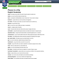 Places around the city (Shops in town) Free English Vocabulary - Vocabulario de la ciudad en inglés