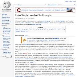 List of English words of Turkic origin