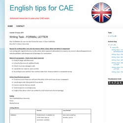 English tips for CAE: Writing Task - FORMAL LETTER