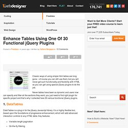 Enhance Tables Using One Of 30 Functional jQuery Plugins