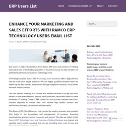 Enhance your Marketing and Sales Efforts with Ramco ERP Technology Users Email List