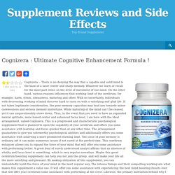Cognizera : Ultimate Cognitive Enhancement Formula !