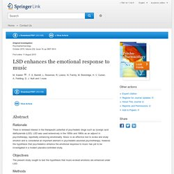 LSD enhances the emotional response to music