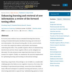 Enhancing learning and retrieval of new information: a review of the forward testing effect