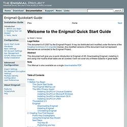 Enigmail Quickstart Guide