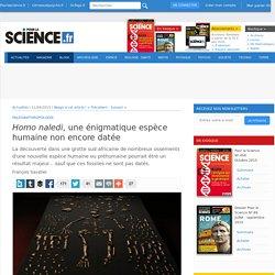 Homo naledi , une énigmatique espèce humaine non encore datée - Pour la Science