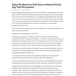 Enjoy the Best Inca Trail Tours or Machu Picchu Day Trip This Season!