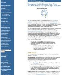 Enneagram Test - Riso-Hudson Enneagram Type Indicator