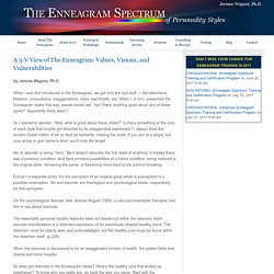 A 3-V View of The Enneagram: Values, Visions, and Vulnerabilities
