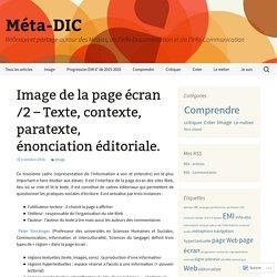Image de la page écran /2 – Texte, contexte, paratexte, énonciation éditoriale.