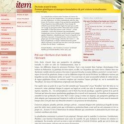 Du texte avant le texte.Formes génétiques et marques énonciatives de pré-visions textualisantes