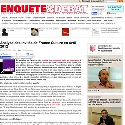 Enquête&Debat - Analyse des invités de France Culture en avril 2012