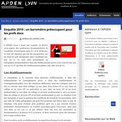 Enquête 2019 : un baromètre préoccupant pour les profs docs - A.P.D.E.N. Lyon