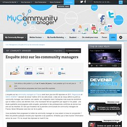 Enquête 2012 sur les community managers