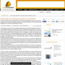 L'ACFCI enquête sur le développement durable au sein des PME/PMI
