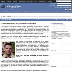X. Pons : Enquête sur les journalistes de l'éducation