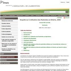 ONTARIO 18/06/10 Enquête sur L'utilisation des Pesticides en Ontario, 2008