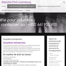 Enquêtes entreprises - Détective Privé Luxembourg