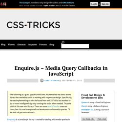 Enquire.js - Media Query Callbacks in JavaScript