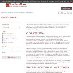 Enregistrement - Archives départementales des Hautes-Alpes