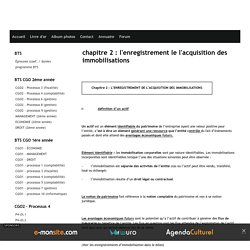 chapitre 2 : l'enregistrement le l'acquisition des immobilisations