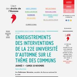 Interventions université d'automne LdH sur le thème des communs
