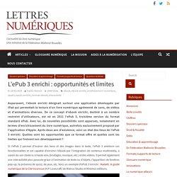 L'ePub 3 enrichi : opportunités et limites