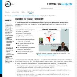 Simplexe du travail enseignant — 2-Ifé - Plateforme néo-titulaires - NéoPass