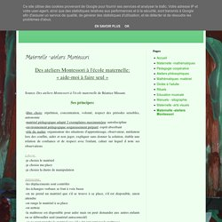 Enseignant primaire ressources: Maternelle -ateliers Montessori