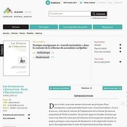 Pratique enseignante et «travail curriculaire» dans le contexte de la réforme du secondaire au Québec