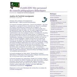 Analyse de l'activité enseignante - CLASS-EDU Site personnel de conseils pédagogiques/didactiques