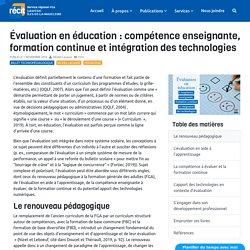 Évaluation en éducation : compétence enseignante, formation continue et intégration des technologies - RÉCIT FGA-11